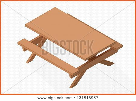 outdoor wooden table isometric perspective view flat vector 3d illustration