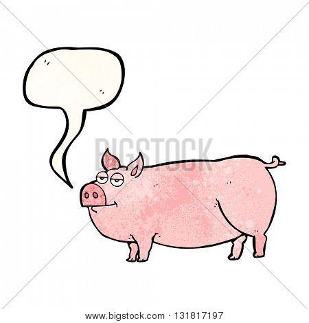 freehand speech bubble textured cartoon huge pig