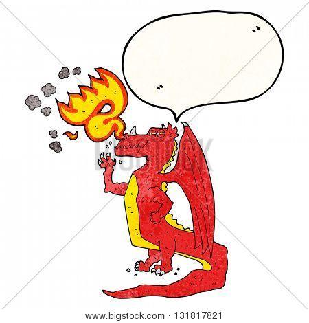 freehand speech bubble textured cartoon happy dragon breathing fire