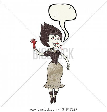 freehand speech bubble textured cartoon blood sucking vampire girl