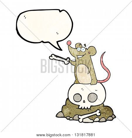freehand speech bubble textured cartoon graveyard rat
