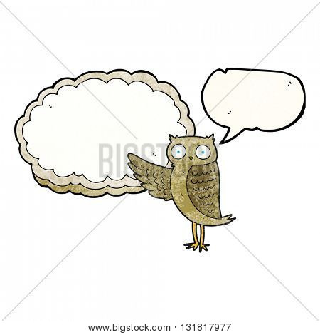 freehand speech bubble textured cartoon owl pointing