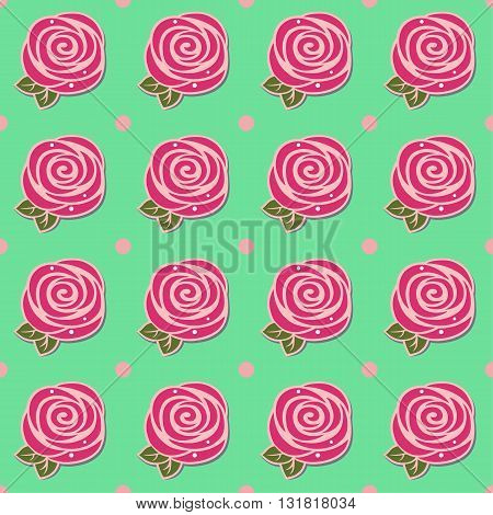 Flowers (stylized roses) seamless background isolated on green vector illustration