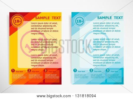 18 Plus Years Old Sign. Adults Content Icon On Abstract Vector Modern Flyer