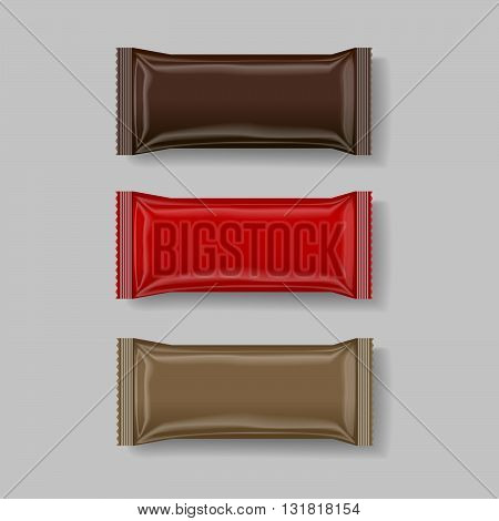 snack package brown & red 3 d vector illustration