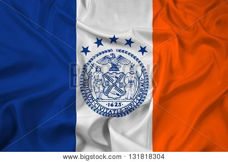 Waving Flag of New York City, with beautiful satin background
