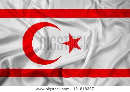 Waving Flag of Northern Cyprus, with beautiful satin background