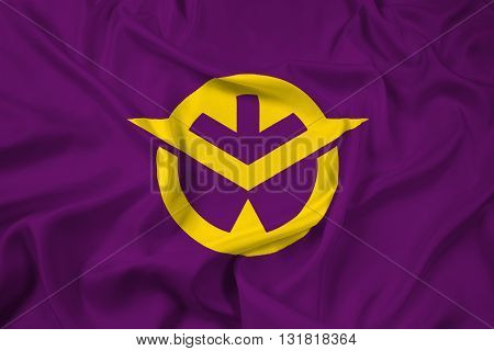 Waving Flag of Okayama Prefecture Japan, with beautiful satin background