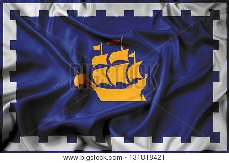 Waving Flag of Quebec City, with beautiful satin background