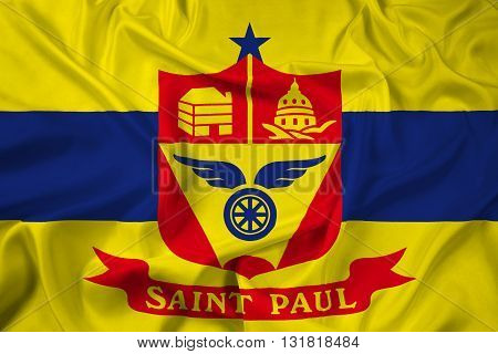 Waving Flag of Saint Paul Minnesota, with beautiful satin background