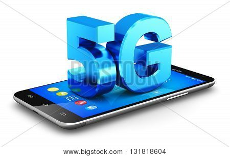 3D render of blue metallic 5G wireless communication technology logo, symbol, icon or button on modern metal black glossy touchscreen smartphone with colorful interface isolated on white background
