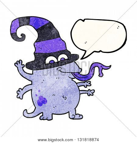 freehand speech bubble textured cartoon halloween alien