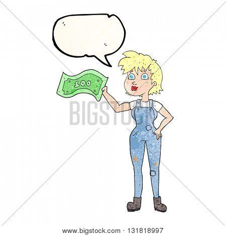 freehand speech bubble textured cartoon confident farmer woman with money