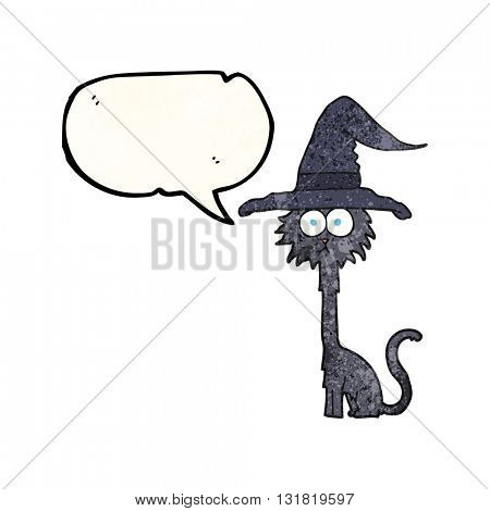 freehand speech bubble textured cartoon halloween cat