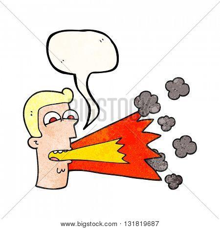 freehand speech bubble textured cartoon shouting man
