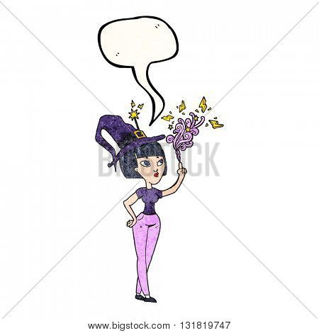freehand speech bubble textured cartoon witch casting spell