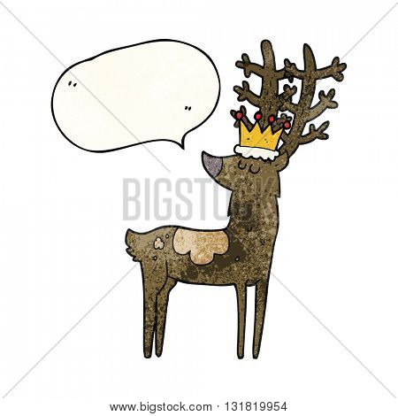freehand speech bubble textured cartoon stag king
