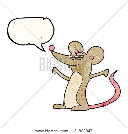 freehand speech bubble textured cartoon mouse