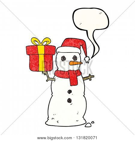 freehand speech bubble textured cartoon snowman