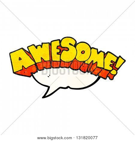 freehand speech bubble textured cartoon word awesome