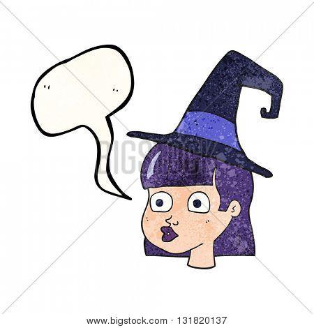 freehand speech bubble textured cartoon witch