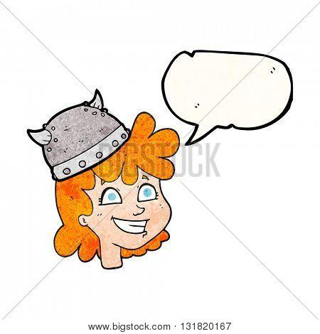 freehand speech bubble textured cartoon female viking