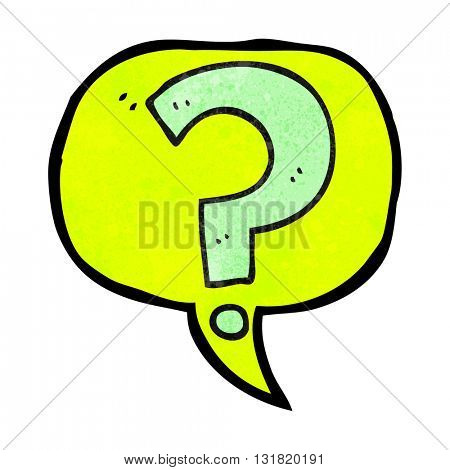 freehand speech bubble textured cartoon question mark
