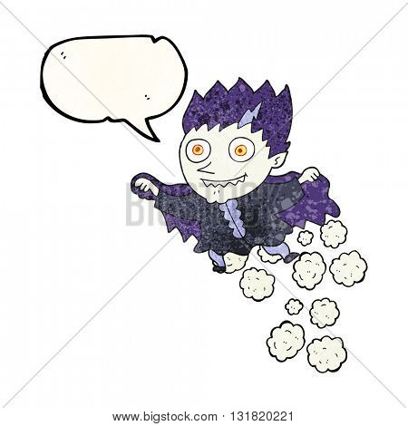 freehand speech bubble textured cartoon vampire