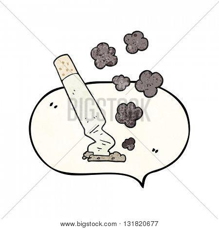 freehand speech bubble textured cartoon cigarette