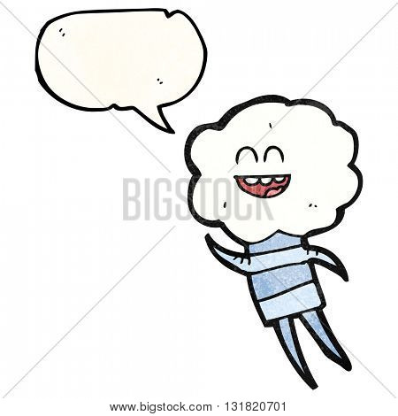 freehand speech bubble textured cartoon cute cloud head creature