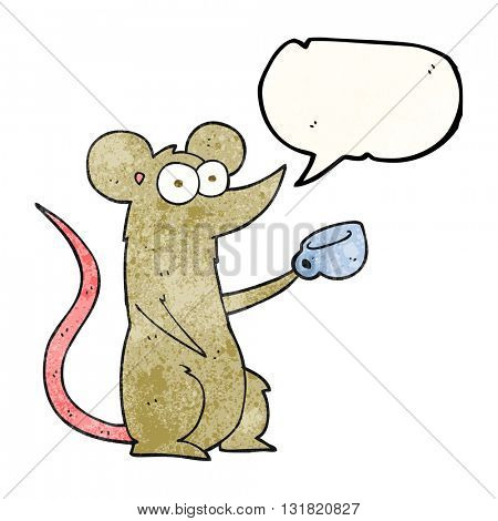 freehand speech bubble textured cartoon mouse with coffee cup