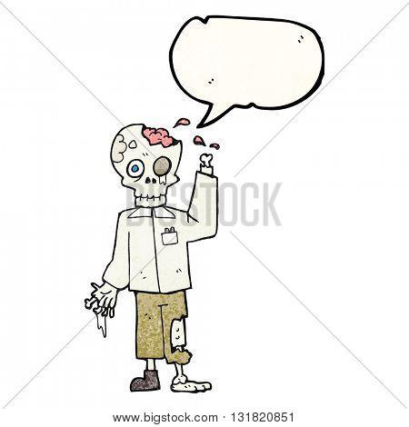 freehand speech bubble textured cartoon zombie