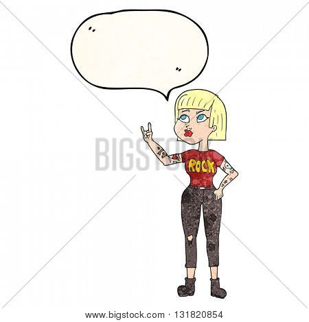 freehand speech bubble textured cartoon rock girl