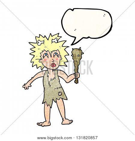 freehand speech bubble textured cartoon cave woman