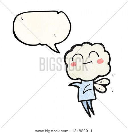 freehand speech bubble textured cartoon cute cloud head imp