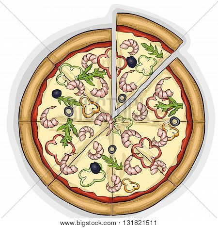 Pizza with shrimp color picture. Fast food. Hand drawn vector illustration.