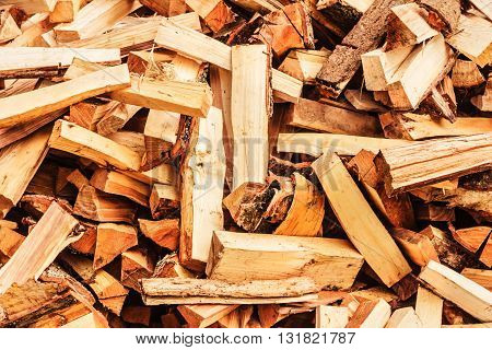 Fresh wooden split firewood for fire and winter
