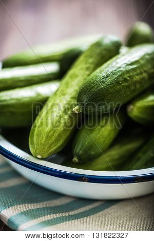 Bowl With Fresh Cucumbers