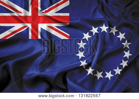 Waving Flag of the Cook Islands, with beautiful satin background
