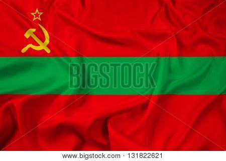 Waving Flag of Transnistria, with beautiful satin background