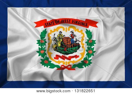 Waving Flag of West Virginia State, with beautiful satin background