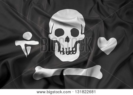 Waving Stede Bonnet Pirate Flag, with beautiful satin background