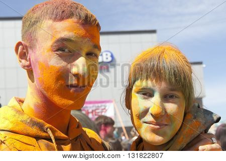 ULAN-UDE, RUSSIAN FEDERATION - May 29, 2016. Roots of this festival are in India, where it called Holi Festival. Russian people celebrate it too.