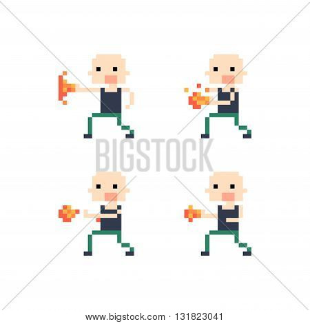 Pixel art guy with bald head throwing fire sprites for animation