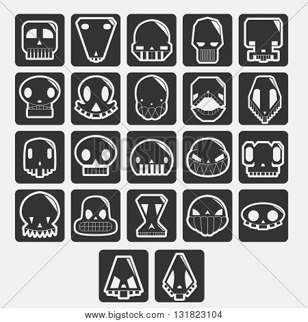 white skulls cartoon set. elements for avatar or halloween
