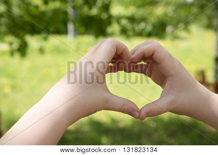 Men is making hand heart on forest background