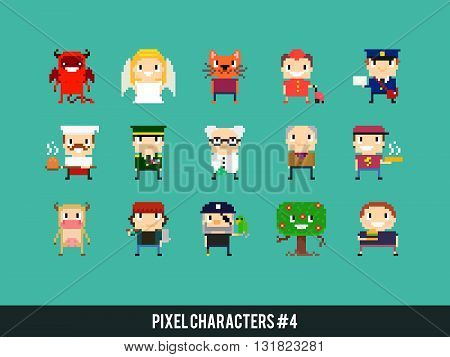 Set of different pixel art characters icon