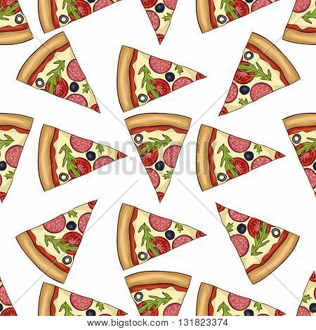 Seamless pattern color pizza with salami. Vector illustration, EPS 10