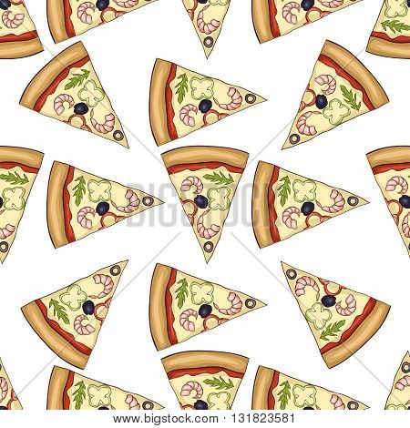 Seamless pattern color pizza with shrimp. Vector illustration, EPS 10