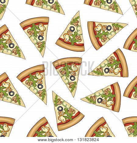 Seamless pattern color pizza with mashrooms. Vector illustration, EPS 10